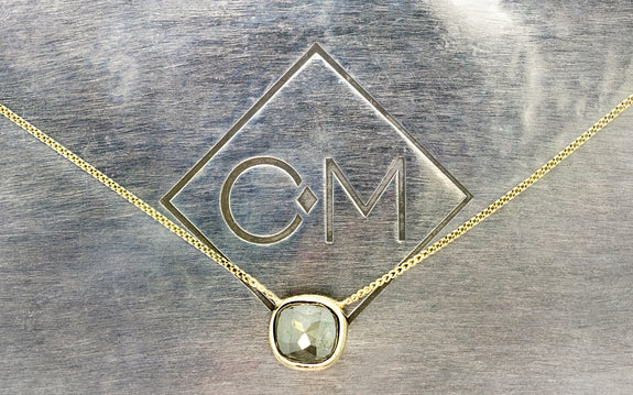 .30ct Gray Diamond Necklace on model