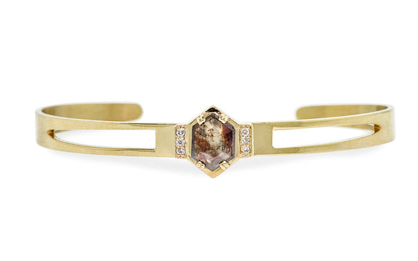 MERU Bracelet in Yellow Gold with .61 Carat Gray and Rust Diamond