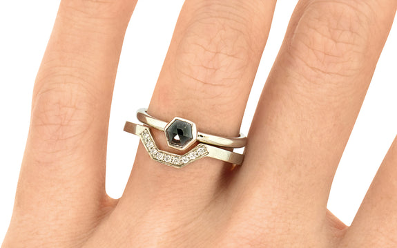.58ct Black diamond Ring in white gold on hand view