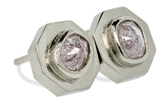 .45 ct pink/purple diamond stud earrings worn by model