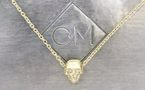 Diamond Skull Necklace front view