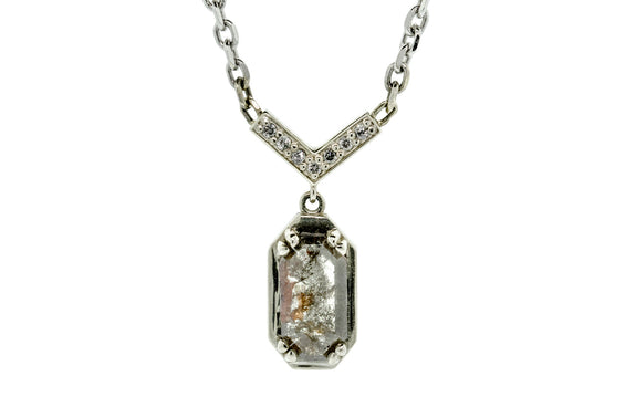 1.37 carat gray & rust diamond necklace worn on model