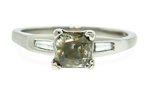 1.04 Carat Gray/Green Diamond Ring in White Gold