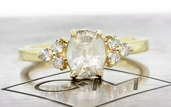 1.27ct Oval White Diamond Ring with 14K Yellow Gold | Front View