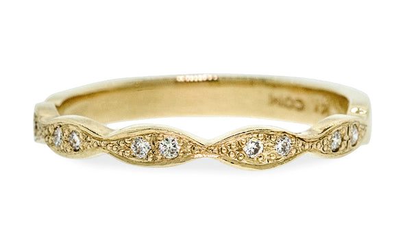 Scalloped Wedding Band with White Diamonds worn by model