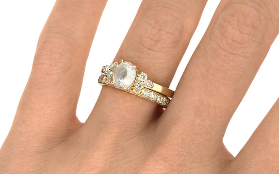 1.27ct Oval White Diamond Ring with 14K Yellow Gold | Front View on Logo
