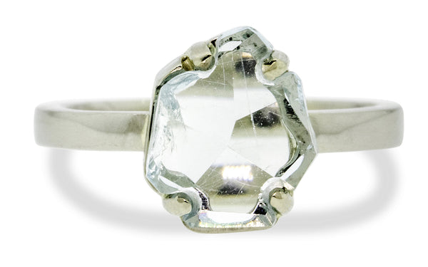 1.51 Carat Hand-Cut Aquamarine Ring in White Gold