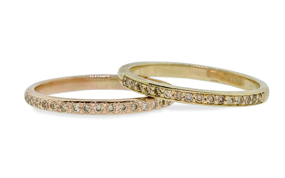 Wedding Band with 16 Champagne Diamonds worn by model