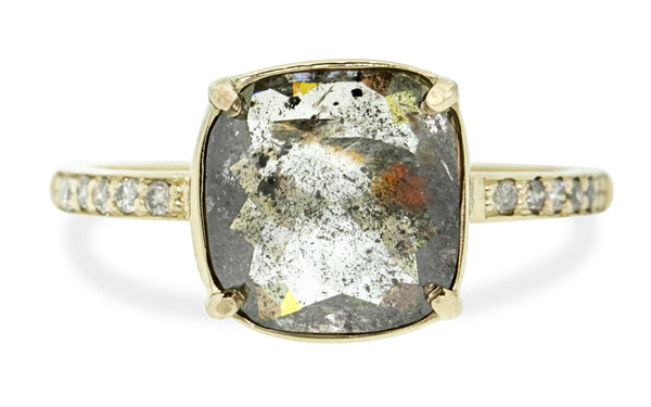 2.37 Carat Salt and Pepper Diamond Ring in Yellow Gold