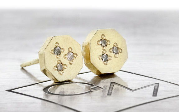 14k Yellow Gold Octagonal Studs with Diamond Pave on logo