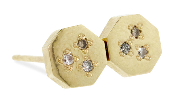 14k Yellow Gold Octagonal Studs with Diamond Pave side view