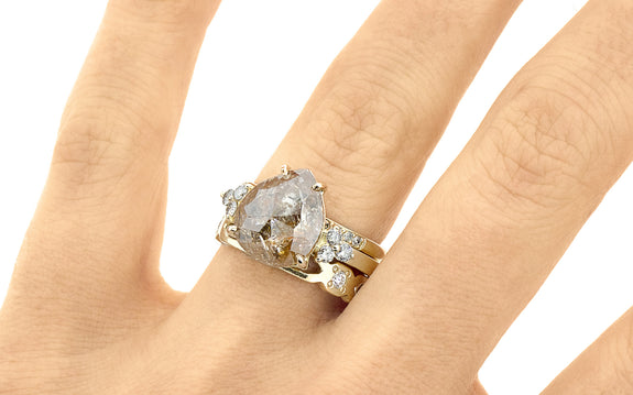 3.80 Carat Peach & Champagne Diamond Ring in Yellow Gold