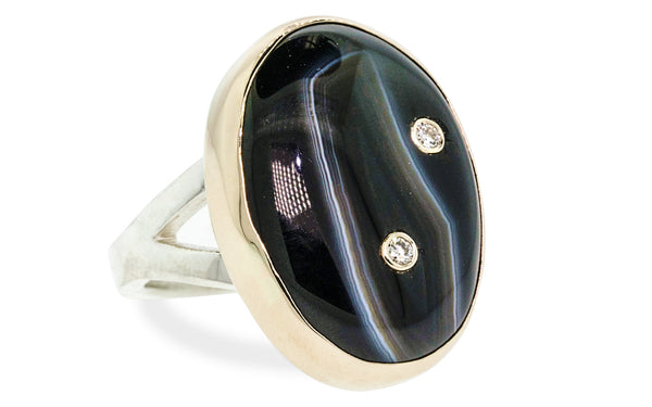 Diamond Studded Black Frost Agate Ring worn on model