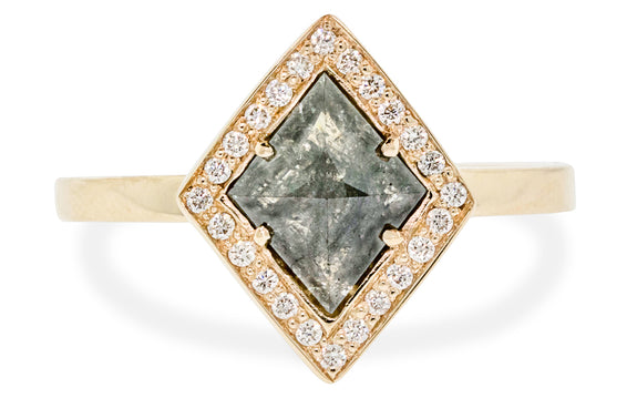 1.04 Carat Natural Black Diamond Ring with Diamond Halo in Yellow Gold