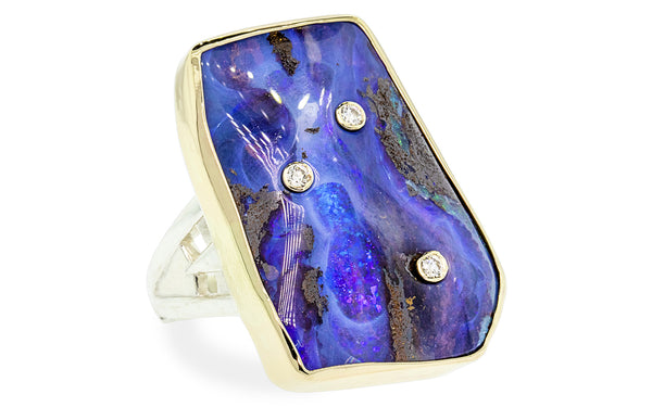 Diamond Studded Boulder Opal Ring cm00606