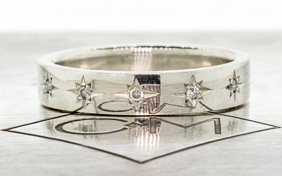 CM Star Wedding Band with Gray Diamonds in white gold