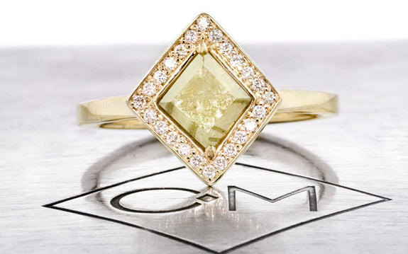 .82ct light green diamond ring front view on logo