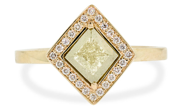 .82ct light green diamond ring front view