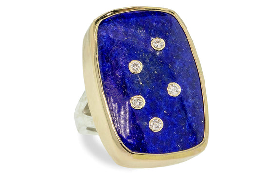 Diamond Studded Lapis Lazuli Ring on model