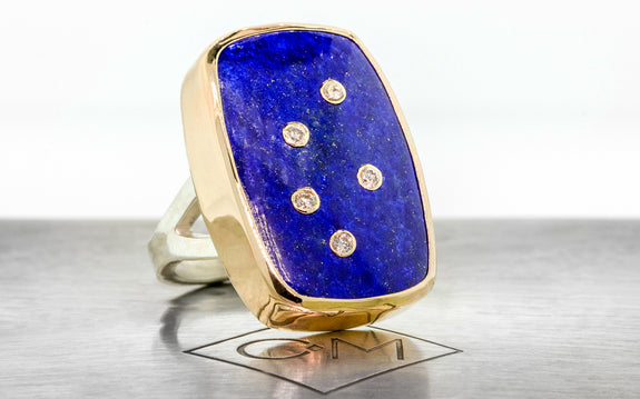 Diamond Studded Lapis Lazuli Ring front view