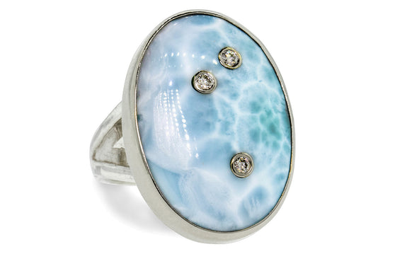 Diamond Studded Larimar Ring worn on model