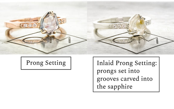 prong vs inlaid prong setting example