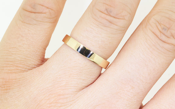 Men's Flat Gold Wedding Band on model
