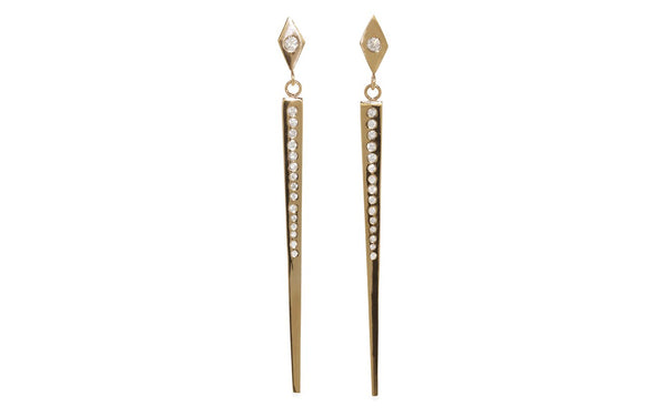 Deco Skyscraper Earrings in Yellow Gold - rotating view