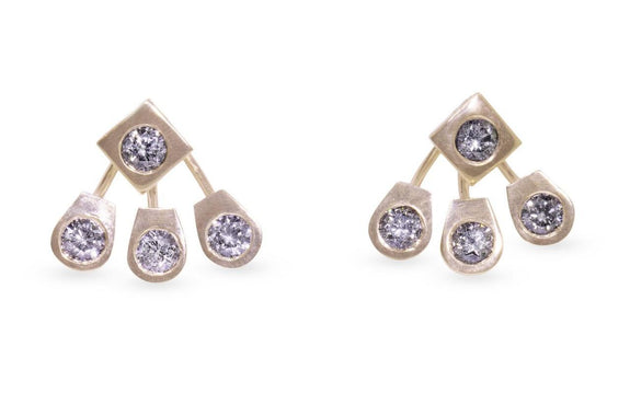 Gray Diamond Front-Back Earrings rotating view