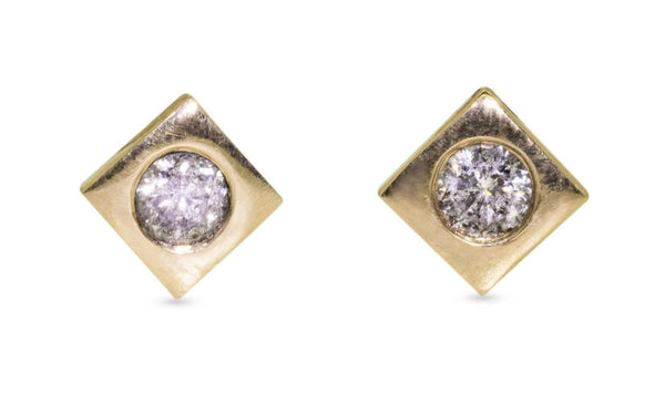 CM Gray Diamond Stud Earrings on model