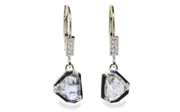 EDZIZA Earrings in White Gold with .84 Carat Salt and Pepper Diamonds