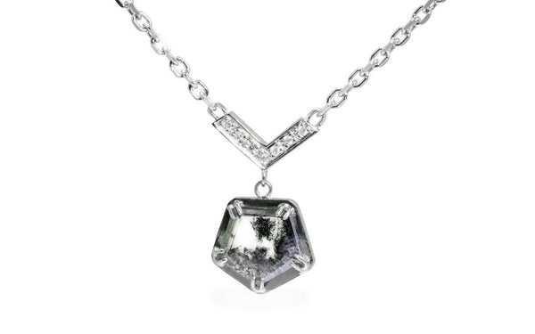 MERU Necklace in White Gold with 1.32 Carat Salt and Pepper Diamond