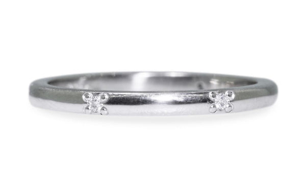 Wedding Band with 6 White Diamonds front view
