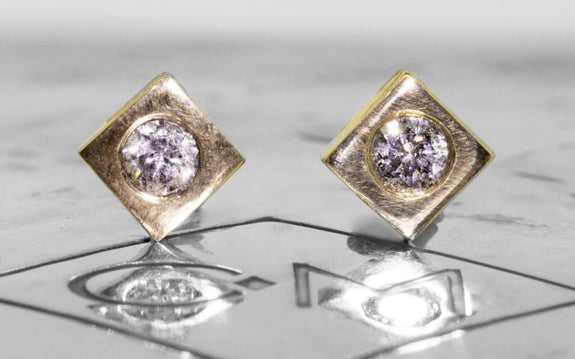 CM Gray Diamond Stud Earrings front view