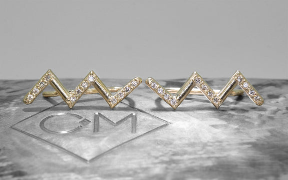 Diamond Zig Zag Ring in Yellow Gold front view