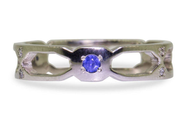 Deco Infinity Band With Blue Sapphires front view