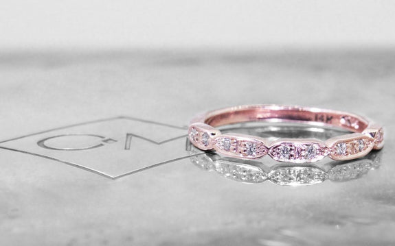 Scalloped Wedding Band with White Diamonds side view on logo
