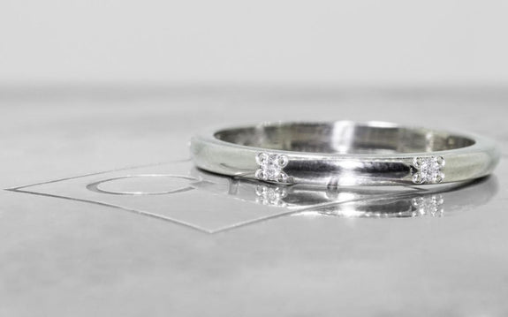 Wedding Band with 6 White Diamonds front view on logo