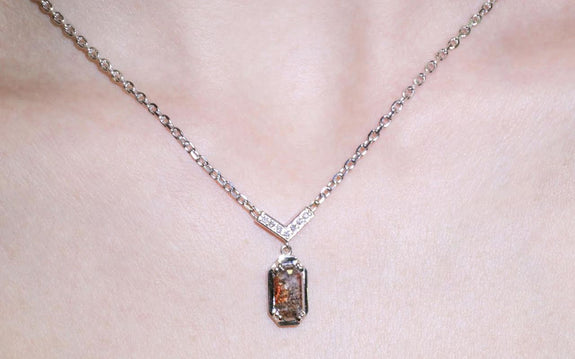 1.37 carat gray & rust diamond necklace side view