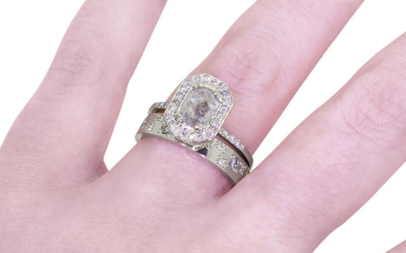 .92ct gray center diamond ring side view