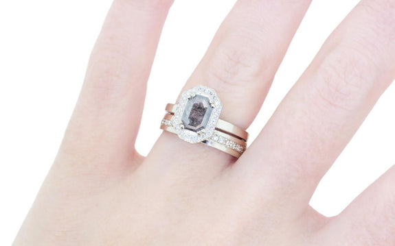 .66ct salt & pepper diamond ring side view