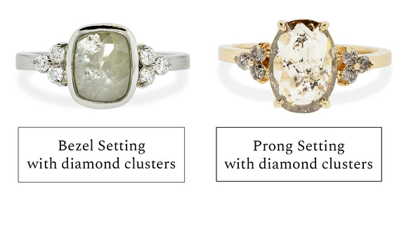 Cluster accent diamond setting with bezel or prong setting