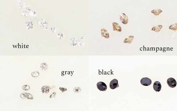 Pave diamond color example. white champagne gray black