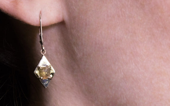 TOBA Earrings in White Gold with .78 Carat Champagne Diamonds