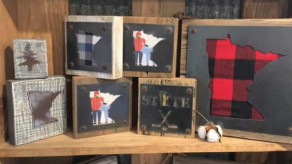Metal and wood Minnesota art blocks from Art 2 Heart Gift Shop in Hamel MN