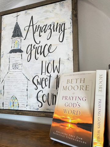 Amazing Grace wall art and Beth Moore book at Art 2 Heart Gift Shop in Hamel MN