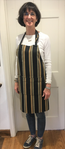 Chef's Apron of Black Striped Duck Cloth from Art 2 Heart Gift Shop in Hamel MN