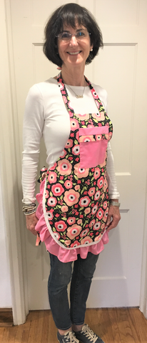 Pink Ruffled Cotton Bib Apron from Art 2 Heart Gift Shop in Hamel MN