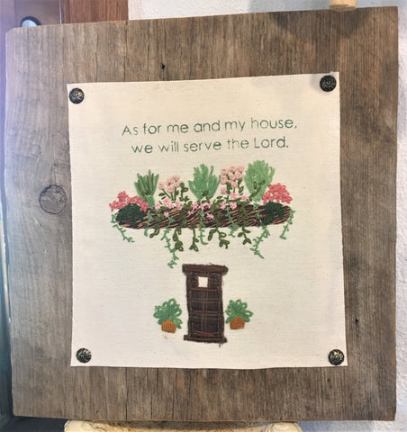 Hand-embroidered design mounted on Minnesota barnwood from Art 2 Heart Gift Shop in Hamel MN