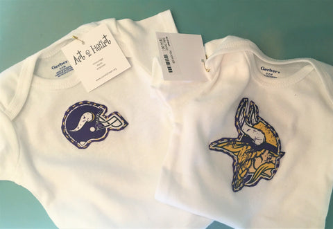 MN Vikings Baby Onsies at Art 2 Heart Gift Shop in Hamel MN